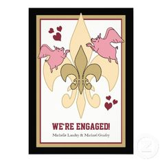 Pigs are flying on this Black / Gold Fleur de lis engagement party invitation!