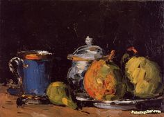 Sugar Bowl, Pears and Blue Cup Artwork by Paul Cezanne Hand-painted and Art Prints on canvas for sale,you can custom the size and frame
