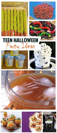 Great ideas to throw an awesome Halloween party fo… Teen Halloween Party Ideas ! Great ideas to throw an awesome Halloween party for teenages (and tweens!) Decor ideas, games, treats and recipes galore! Teen Halloween Party, Halloween Donuts, Halloween Activities For Kids, Halloween Desserts, Halloween Food For Party, Holidays Halloween, Halloween Treats, Trendy Halloween, Family Halloween