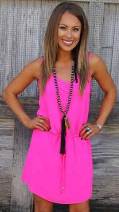 Kelsey Hot Pink Tie Waist Dress - The Lace Cactus