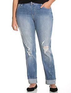 Distressed straight leg jean