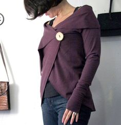 womens wrap cardigan in french terry with hand crafted wooden button closure and asymmetrical neckline - made to order op Etsy, 52,53€