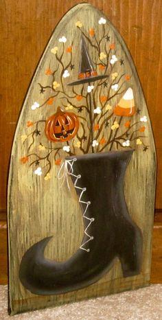 ~*primitive*~* hp folk art prim witches boot * hat * pumpkin *~* stretcher