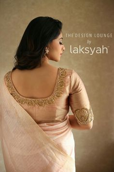 Ic and creative clothing by laksyah a fashion label by actress kavya madhavan Wedding Saree Blouse Designs, Pattu Saree Blouse Designs, Fancy Blouse Designs, Lehenga Designs, Blouse Back Neck Designs, Blouse Designs Catalogue, Stylish Blouse Design, Designer Blouse Patterns, Sexy Blouse