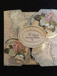 Wedding gate fold card using Anna Griffin embossing folders