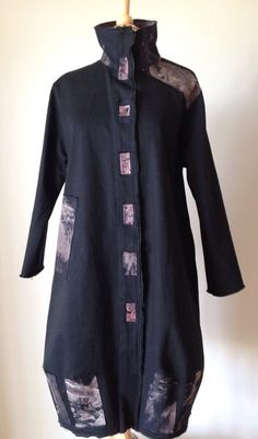 "The Perfect Dance, January 28, 2015 by Leslie Gelber, ""This canvas coat, entitled The Perfect Dance, began with black canvas twill fabric as the base and a collection of Miles Frode's painted cloths. A great pattern as it has lots of blank space for your own interpretation, Vogue 8934."""