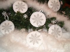 Holiday Decorations  White Grey Snowflakes by Customquiltsbyeva, $45.00