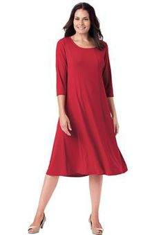 Dress sheath in a silky fabric with dot print by Chelsea Studio® | Plus Size Career Dresses | Woman Within