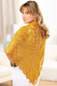 Looking for something to knit this bank holiday Monday? Wrap yourself in luxury with this stunning golden shawl! The lace motif resembles a lotus flower and is achieved by combining strategically placed eyelets and shaped decreases.The chart is presented