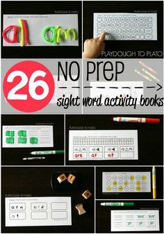 26 Awesome NO PREP Sight Word Activity Books. Kids shape them with pipe cleaners, flip over their books and write the words upside down... even type them on a pretend keyboard! Such a fun way to learn sight words.