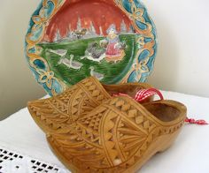 Carved CLOGS Wooden Clogs PAIR Clogs Decorative Wood Shoes Light Wood Carving DUTCH Shoes Dutch Decor Small Clogs Wall Hanging RibbonTrim by BigGirlSmallWorld on Etsy