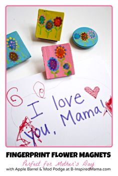 Try this Kids Fingerprint Flower Magnet Craft (using Apple Barrel paint & Mod Podge Washout) for a cute kid-made Mothers Day gift! B-InspiredMama.com