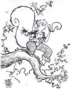 #DailySketch Squirrel Girl.Original sketch available in my shophttp://skottieyoungstore.bigcartel.com