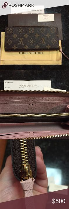 Louis Vuitton Rose Ballerine Clemence Wallet Authentic, like new, beautiful wallet. Purchased in January from LV store in King of Prussia, PA. Made in Spain. CA4195. Wallet has 8 card slots, 2 slip pockets, 2 gusset pockets and zipped center pocket. This wallet holds a lot! Zipper is smooth. Includes dust bag, textile card, copy of receipt and box. Selling for $530 at LV. Purchased for $560 with tax. No trades. Price Firm. Thanks for looking! Louis Vuitton Bags Wallets