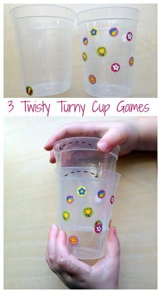 Three Twisty Turny DIY Cups Games - Awesome for bilateral coordination, visual scanning and fine motor skills! So simple!