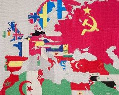 Alighiero Boetti embroidered mappa, 1970's