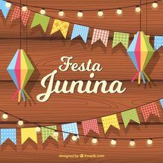 Fundo Festa junina com bandeirolas e lâmpadas