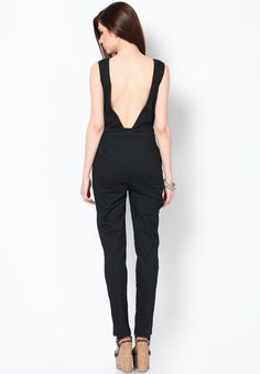 Solid Black deep-back jumpsuit  for parties via @Roposo