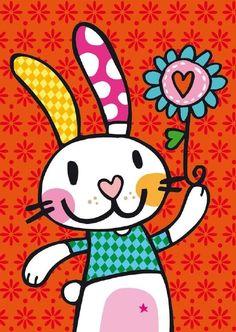 Tap-18-Konijn Art Drawings For Kids, Drawing For Kids, Painting For Kids, Easy Drawings, Art For Kids, Arte Pop, Fabric Painting, Diy Painting, Wal Art