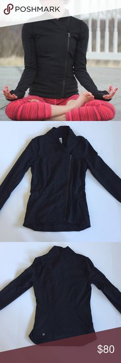 Lululemon Precision Jacket Sold to me as a Bhakti jacket, but it's actually the precision jacket. Has the similar great look of the Bhakti. In excellent used condition. Does still have some tide detergent scent from previous owner, but not overwhelming (just like to mention for people with scent allergies). No trades. lululemon athletica Jackets & Coats
