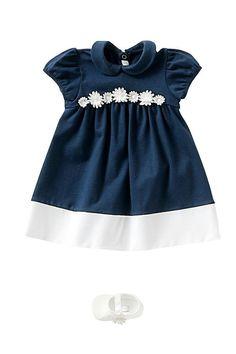Baby dress. Blu and white