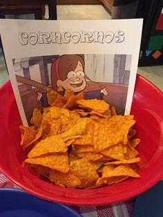 Gravity Falls birthday party food. Corncornos