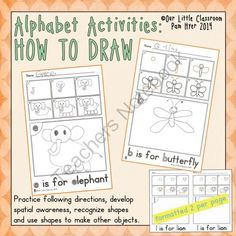 """Alphabet Activities:  How to Draw from Our Little Classroom on TeachersNotebook.com -  (29 pages)  - Directed drawing activities  - one for each letter of the alphabet.  """"I can use shapes to make other objects."""""""