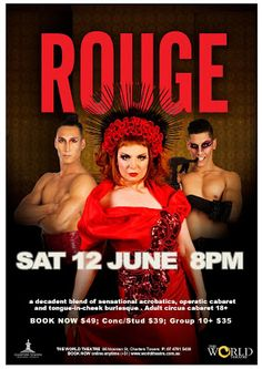 The World Theatre - Charters Towers: ROUGE [LIVE] Highwire : SAT 12 JUNE 8PM one show only World Theatre, Upcoming Events, Cabaret, New Age, Towers, How Are You Feeling, Bring It On, Live, Celebrities