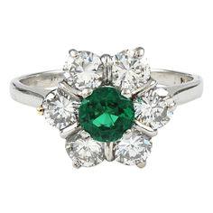1stdibs   TIFFANY Diamond and Emerald Ring