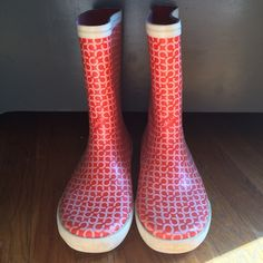 Coach Rainboots Adorable red and white Coach rain boots. In great condition! Coach Shoes