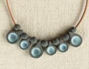 Gargantilla  pizarrra cerámica  turquesa-material exclusivo - artesanum com