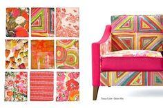 à gauche:  tissus amour en cage / cube / cabinet de curiosité  pinceau / palette rouge / toupie rouge  bouquet / variation rouge /dolce vita  A droite :  tissus cube