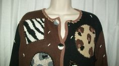 $18.99   Storybook Knits Brown Animal Print Patch Cardigan Sweater S