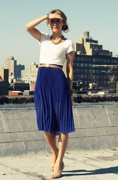ways to wear a blue pencil  skirt  | ... below look sophisticated while more forgiving than most pencil skirts