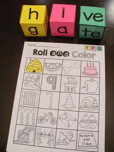 Long vowel silent e center for CVCe words that is so much fun! Roll the word and color it - so much practice!