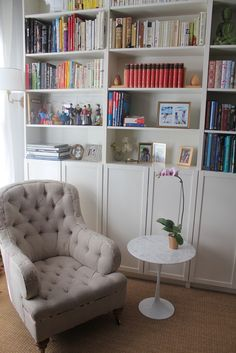 Really like this idea for either side of and underneath the window. Use IKEA Billy Bookcase