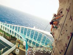 Climb the first-ever rock climbing wall at sea onboard Voyager of the Seas. This 30 ft rock wall allows you to climb 200 ft above sea level for incredible views.