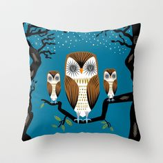 Three+Lazy+Owls+Throw+Pillow+by+Oliver+Lake+-+$20.00