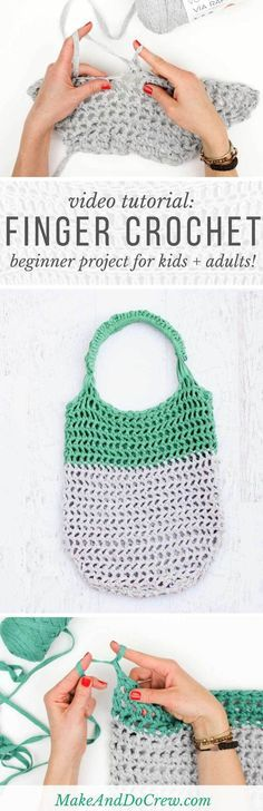 This free market tote bag pattern and video tutorial is the perfect introduction on how to finger crochet. Great beginner bag pattern.