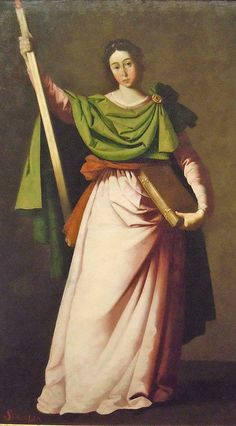 """""""Saint Eulalia"""" by Francisco de Zurbarán (1598-1664) - """"He worked for churches & monasteries over a wide area of southern Spain and his paintings were also exported to South America. His simple compositions & emotionally direct altarpieces, combining austere naturalism with mystical intensity, made him an ideal Counter-Reformation painter."""""""