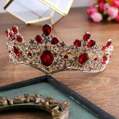 Quality Baroque Vintage Gold Red Green Crystal Crown Wedding Tiara Rhinestone Pageant Prom Crowns Bride Headbands Women Hair Accessories with free worldwide shipping on AliExpress Mobile Cute Jewelry, Hair Jewelry, Bridal Jewelry, Bride Headband, Crystal Crown, Bridal Crown, Fantasy Jewelry, Tiaras And Crowns, Hair Accessories For Women