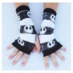 Items similar to Skull fingerless gloves for Jack Skellington fans... ❤ liked on Polyvore featuring gloves