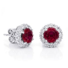 Natural Ruby carats set in White Gold Earrings with Diamonds. The breathtaking Rubies in this lustrous earring set are clustered with shimmering Diamonds and White Gold in a textured sphere. Ruby 2, Ruby Earrings, Natural Ruby, Vivid Colors, Earring Set, Diamonds, White Gold, Gemstones, Engagement