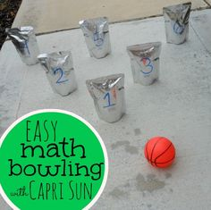 what a fun way to practice math! Math bowling with Capri Sun #ad #blogher #caprisunmoms