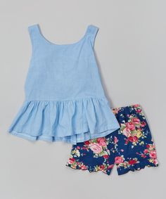 Loving this Blue Peplum Tank & Floral Shorts - Infant, Toddler & Girls by Leighton Alexander Toddler Girl Style, Toddler Girl Outfits, Baby Girl Dresses, Toddler Fashion, Baby Dress, Kids Outfits, Kids Fashion, Toddler Girls, Little Girl Outfits