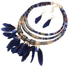 Ethnic Layered Feather Jewelry Set ($5.21) ❤ liked on Polyvore featuring jewelry, set jewelry, layered jewelry and feather jewelry