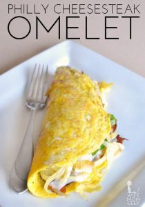 This Philly cheesesteak omelet is a delicious take on the sandwich we all love. It's a low-carb breakfast option, and can be made Paleo and gluten-free, too