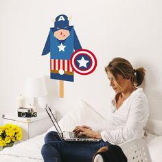 Sticker Super Héros décalé - Capitaine Décoration Geek, Comics