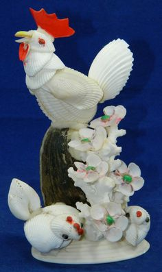 Mouse over image to zoom    Have one to sell? Sell it yourself  Unique Sea Shells Art Sculpture Hen Rooster Chicken Flowers Ocean Figure Clam