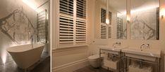 London Bathroom Lighting Design by John Cullen Lighting Bathroom Lighting Design, Bathroom Mirror Lights, Mirror With Lights, Wall Lights, White Marble Bathrooms, Standing Bath, Residential Lighting, Task Lighting, Light Architecture